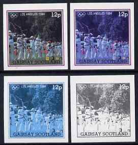 Gairsay 1984 Los Angeles Olympic Games - Archery 12p the set of 4 imperf progressive proofs comprising 1, 2, 3 and all 4-colour composites, unmounted mint