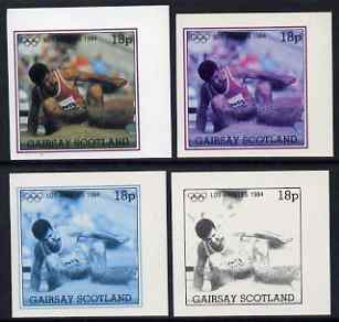 Gairsay 1984 Los Angeles Olympic Games - Long Jump 18p the set of 4 imperf progressive proofs comprising 1, 2, 3 and all 4-colour composites, unmounted mint