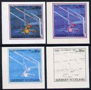 Gairsay 1984 Los Angeles Olympic Games - Water Polo 26p the set of 4 imperf progressive proofs comprising 1, 2, 3 and all 4-colour composites, unmounted mint