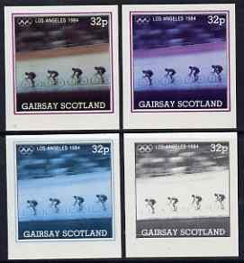 Gairsay 1984 Los Angeles Olympic Games - Cycling 32p the set of 4 imperf progressive proofs comprising 1, 2, 3 and all 4-colour composites, unmounted mint