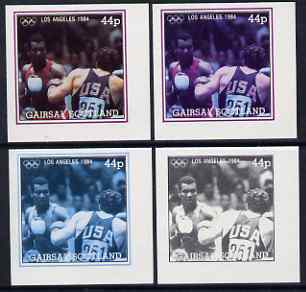 Gairsay 1984 Los Angeles Olympic Games - Boxing 44p the set of 4 imperf progressive proofs comprising 1, 2, 3 and all 4-colour composites, unmounted mint