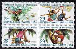 Micronesia 1994 Third Micronesian Games se-tenant block of 4 unmounted mint SG 372-5