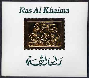 Ras Al Khaima 1971 Soviet Cosmonauts 1r deluxe sheet embossed in gold on glossy card, Mi BL A98, stamps on space