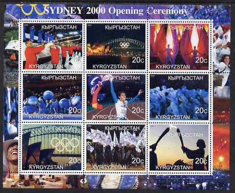 Kyrgyzstan 2000 Sydney Olympic Games (Opening Ceremony) perf sheetlet containing set of 9 values unmounted mint