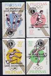 Philippines 1967 50th Anniversary of Lions International opt on Olympic Games imperf set of 4 unmounted mint, SG 1036-9, stamps on lions int, stamps on football, stamps on olympics, stamps on basketball, stamps on hurdles, stamps on relay