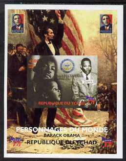 Chad 2008 Barack Obama imperf s/sheet #5 unmounted mint. Note this item is privately produced and is offered purely on its thematic appeal. ., stamps on personalities, stamps on obama, stamps on flags, stamps on lincoln, stamps on usa presidents, stamps on americana, stamps on luther king