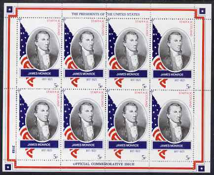 Staffa 1982 Presidents of the United States #05 James Monroe perf sheetlet containing 8 x 5p values unmounted mint