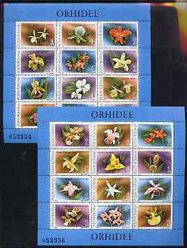 Rumania 1988 Orchids set of 2 sheetlets each containing 12 values Mi BL 235 & 236