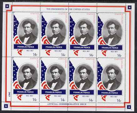 Staffa 1982 Presidents of the United States #14 Franklin Pierce perf sheetlet containing 8 x 14p values unmounted mint