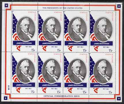 Staffa 1982 Presidents of the United States #15 James Buchanan perf sheetlet containing 8 x 15p values unmounted mint