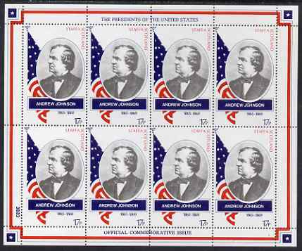 Staffa 1982 Presidents of the United States #17 Andrew Johnson perf sheetlet containing 8 x 17p values unmounted mint