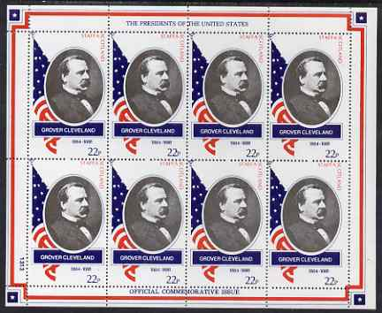 Staffa 1982 Presidents of the United States #22 Grover Cleveland perf sheetlet containing 8 x 22p values unmounted mint