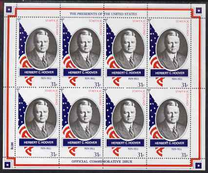 Staffa 1982 Presidents of the United States #31 Herbert C Hoover perf sheetlet containing 8 x 31p values unmounted mint