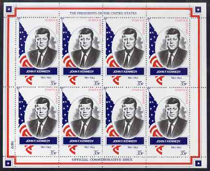 Staffa 1982 Presidents of the United States #35 John F Kennedy perf sheetlet containing 8 x 35p values unmounted mint