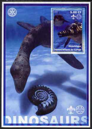 Congo 2002 Dinosaurs #01 perf s/sheet (also showing Scout, Guide & Rotary Logos) unmounted mint
