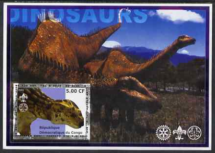 Congo 2002 Dinosaurs #13 (also showing Scout, Guide & Rotary Logos) unmounted mint