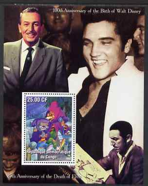 Congo 2002 Birth Centenary of Walt Disney & 25th Anniversary of Death of Elvis #1 perf m/sheet unmounted mint
