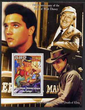 Congo 2002 Birth Centenary of Walt Disney & 25th Anniversary of Death of Elvis #4 perf m/sheet unmounted mint