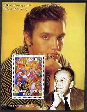 Congo 2002 Birth Centenary of Walt Disney & 25th Anniversary of Death of Elvis #5 perf m/sheet unmounted mint. Note this item is privately produced and is offered purely on its thematic appeal