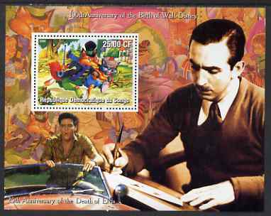 Congo 2002 Birth Centenary of Walt Disney & 25th Anniversary of Death of Elvis #6 perf m/sheet unmounted mint