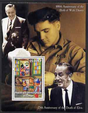 Congo 2002 Birth Centenary of Walt Disney & 25th Anniversary of Death of Elvis #7 perf m/sheet unmounted mint