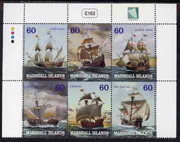Marshall Islands 2000 Sailing Ships perf se-tenant block of 6 unmounted mint, SG 1384-89