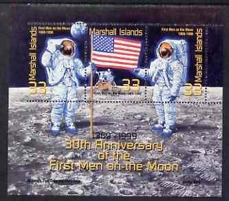 Marshall Islands 1999 30th Anniversary of Moon Landing perf sheetlet containing 3 x 33c values, one stamp imperf at left unmounted mint, as SG MS 1233
