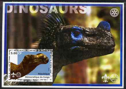 Congo 2002 Dinosaurs #14 (also showing Scout, Guide & Rotary Logos) unmounted mint