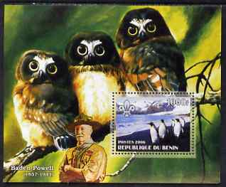Benin 2006 Penguins #1 (with Olws & Baden Powell in background) perf m/sheet unmounted mint