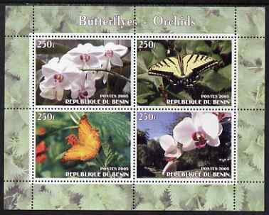 Benin 2005 Butterflies & Orchids perf sheetlet containing 4 values unmounted mint