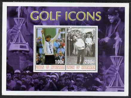 Myanmar 2001 Golf Icons (Nick Faldo & Sam Snead) perf sheetlet containing 2 values unmounted mint