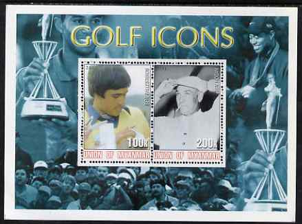 Myanmar 2001 Golf Icons (Seve Ballesteros & Ben Hogan) perf sheetlet containing 2 values unmounted mint, stamps on sport, stamps on golf, stamps on personalities
