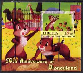 Liberia 2005 50th Anniversary of Disneyland #11 (Chip & Dale) perf s/sheet unmounted mint