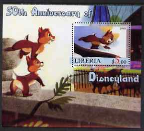 Liberia 2005 50th Anniversary of Disneyland #15 (Chip & Dale) perf s/sheet unmounted mint