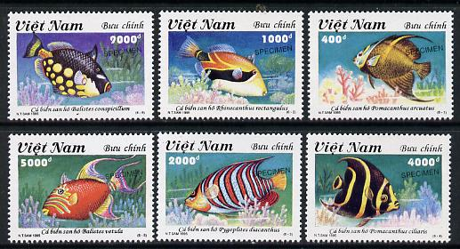 Vietnam 1995 Tropical Fish set of 6 each overprinted SPECIMEN (only 200 sets produced) unmounted mint