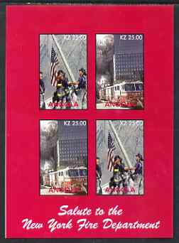 Angola 2002 Salute to the New York Fire Department imperf sheetlet containing 4 values unmounted mint. Note this item is privately produced and is offered purely on its t...