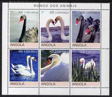 Angola 2000 Swans perf sheetlet containing 6 values unmounted mint. Note this item is privately produced and is offered purely on its thematic appeal