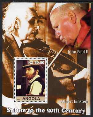 Angola 2002 Salute to the 20th Century #03 perf s/sheet - Elvis, Pope John Paul & Einstein, unmounted mint