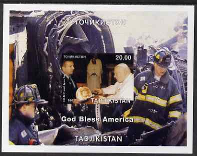 Tadjikistan 2001 'God Bless America' (Pope & Fire Fighters) imperf souvenir sheet unmounted mint