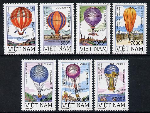 Vietnam 1995 Balloons set of 7 each overprinted SPECIMEN (only 200 sets produced) unmounted mint