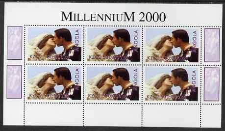 Angola 2000 Millennium 2000 - Royal Wedding perf sheetlet containing 6 values unmounted mint. Note this item is privately produced and is offered purely on its thematic a...