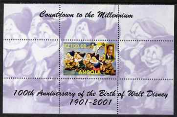Angola 1999 Countdown to the Millennium - Birth Centenary of Walt Disney perf s/sheet #1 unmounted mint. Note this item is privately produced and is offered purely on its thematic appeal