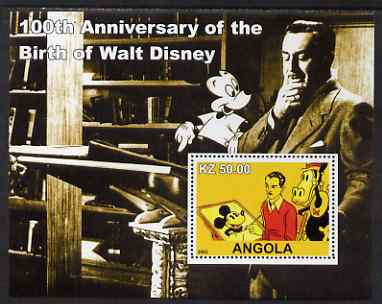 Angola 2002 Birth Centenary of Walt Disney #01 perf s/sheet - Disney drawing Mickey Mouse unmounted mint