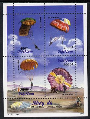 Vietnam 1995 Parachutes perf sheetlet containing 4 values each overprinted SPECIMEN (only 200 sets produced) unmounted mint sd SG 1965-68