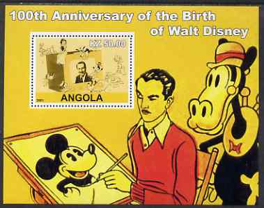 Angola 2001 Birth Centenary of Walt Disney #01 perf s/sheet - Disney & various characters, unmounted mint