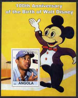 Angola 2002 Birth Centenary of Walt Disney #03 perf s/sheet - Tiger Woods & Mickey Mouse unmounted mint