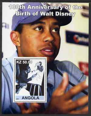 Angola 2001 Birth Centenary of Walt Disney #02 perf s/sheet - Disney & Tiger Woods, unmounted mint. Note this item is privately produced and is offered purely on its them...
