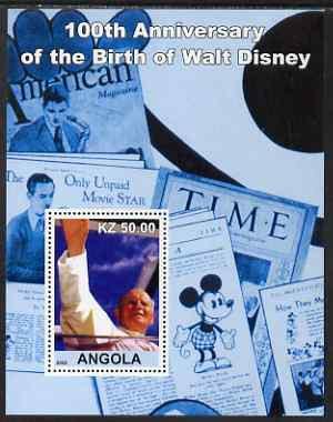 Angola 2002 Birth Centenary of Walt Disney #04 perf s/sheet - Pope & Magazines unmounted mint