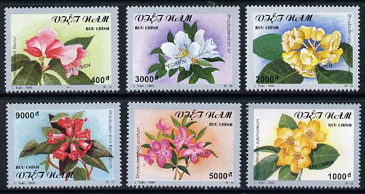 Vietnam 1995 Flowers set of 6 each overprinted SPECIMEN (only 200 sets produced) unmounted mint