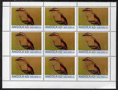 Angola 1999 Birds 300,000k from Flora & Fauna def set complete perf sheet of 9 each opt'd in gold with France 99 Imprint with Chess Piece and inscribed Hobby Day, unmounted mint. Note this item is privately produced and is offered purely on its thematic appeal